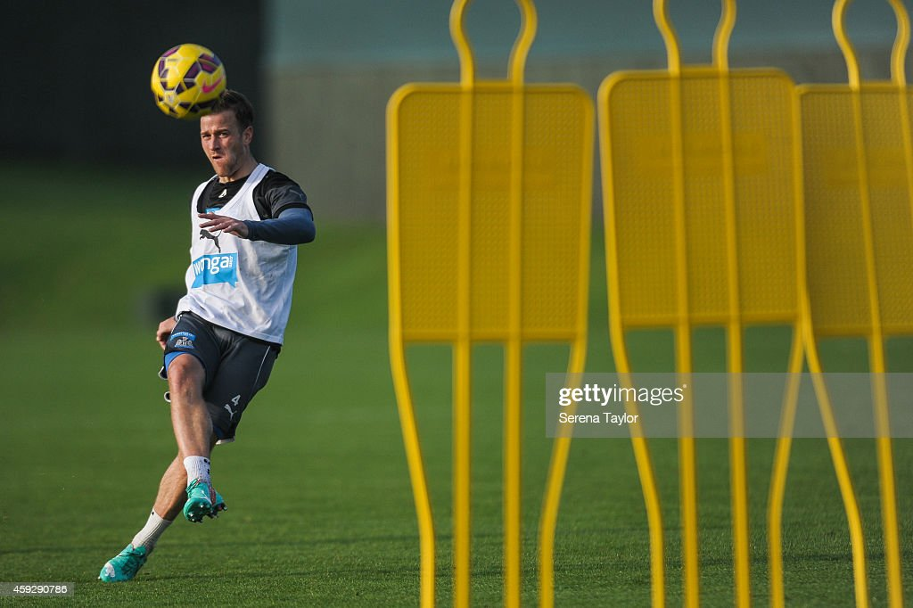 Ryan Taylor kicks the ball over mannequins during a Newcastle United training session at The Newcastle United Training Centre on November 20, 2014, in Newcastle upon Tyne, England.