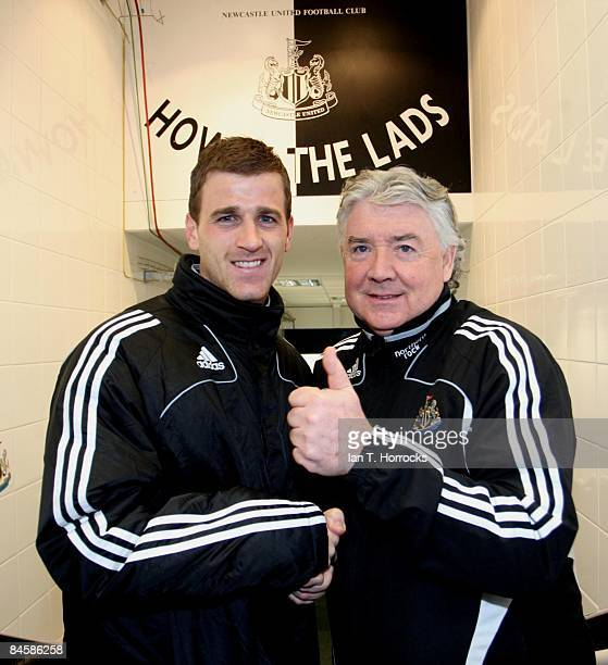 Ryan Taylor with manager Joe Kinnear at St James' Park after signing for Newcastle United on February 02 2009 in NewcastleuponTyne England...