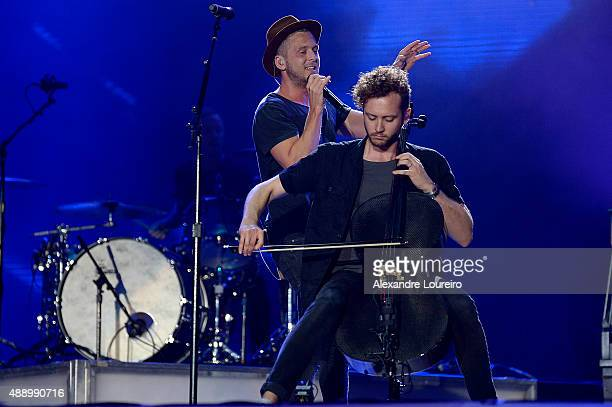 Ryan Tedder and Brent Kutzle from OneRepublic performs at 2015 Rock in Rio on September 18 2015 in Rio de Janeiro Brazil