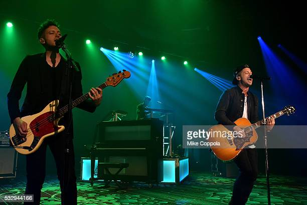 Ryan Tedder and Brent Kutzle of OneRepublic perform their medley of hits at the 2016 ToysRUs Children's Fund Gala on May 19 in New York City One of...