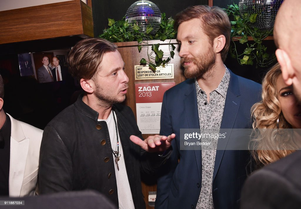 Ryan Tedder (L) and Calvin Harris attend the 60th Annual Grammy Awards after party hosted by Benny Blanco and Diplo with SVEDKA Vodka and Interscope Records on January 29, 2018 in New York City.