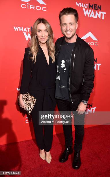 Ryan Tedder and Genevieve Tedder attend the premiere of Paramount Pictures and BET Films' What Men Want at Regency Village Theatre on January 28 2019...