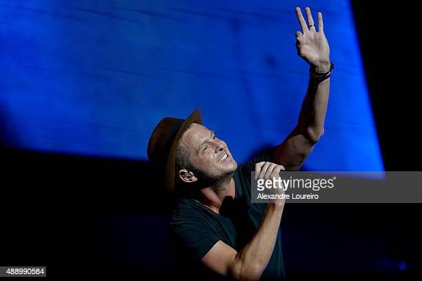 Ryan Tedder from OneRepublic performs at 2015 Rock in Rio on September 18 2015 in Rio de Janeiro Brazil