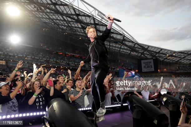 Ryan Tedder of One Republic performs before the 2019 NRL Grand Final match between the Canberra Raiders and the Sydney Roosters at ANZ Stadium on...