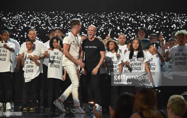 Ryan Tedder of OneRepublic and Logic perform onstage during the 2018 MTV Video Music Awards at Radio City Music Hall on August 20 2018 in New York...