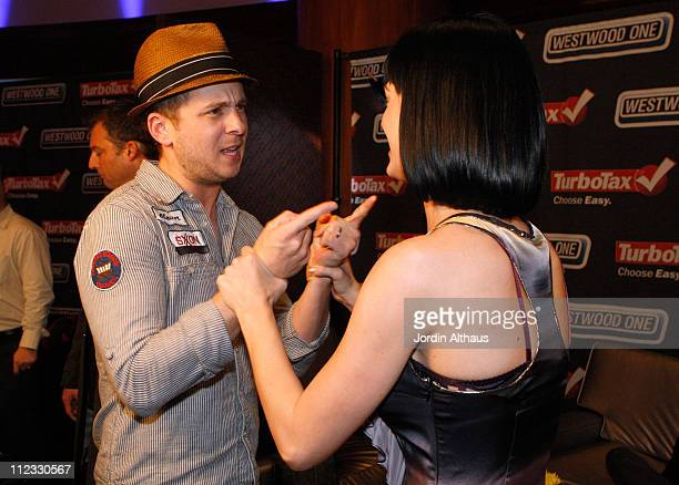 Ryan Tedder of the band OneRepublic and singer Katy Perry attend the 51st Annual GRAMMY Awards Westwood One Radio Remotes Day 2 held at the Staples...