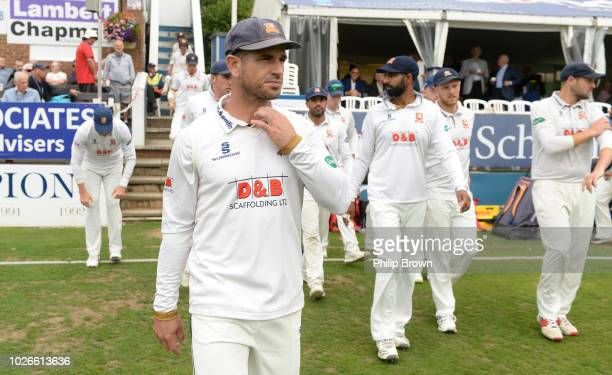 Ryan ten Doeschate of Essex leads his team out before the Specsavers County Championship Division One match between Essex and Surrey at The Cloudfm...