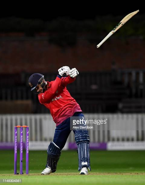 Ryan Ten Doeschate of Essex lets go of his bat during the Royal London One Day Cup match between Somerset and Essex at The Cooper Associates County...