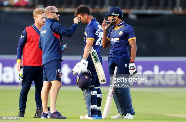 Ryan ten Doeschate of Essex receives treatment from the clubs physio during the Essex v Somerset NatWest T20 Blast cricket match at the Cloudfm...