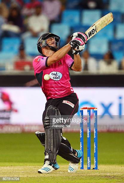Ryan Ten Doeschate of Libra Legends is struck by the ball during the opening match of the Oxigen Masters Champions League 2016 between Libra Legends...