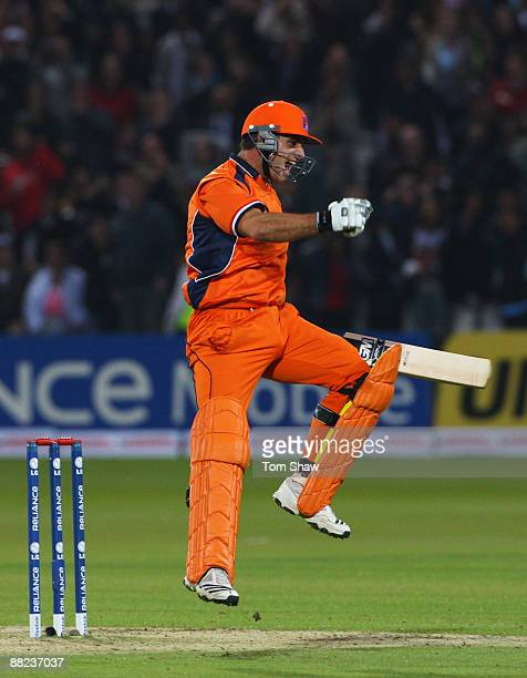 Ryan ten Doeschate of Netherlands celebrates victory during the ICC World Twenty20 Group B match between England and the Netherlands at Lord's on...
