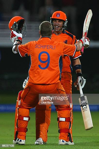 Ryan ten Doeschate of Netherlands celebrates victory with Edgar Schiferli of Netherlands during the ICC World Twenty20 Group B match between England...