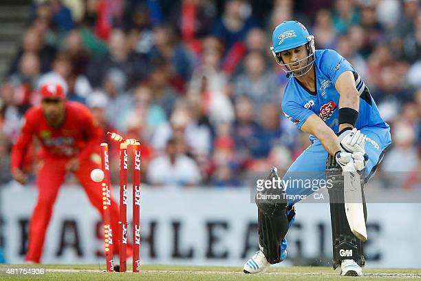 Ryan Ten Doeschate of the Adelaide Strikers is bowled by Nathan Rimmington of the Melbourne Renegades during the Big Bash League match between the...