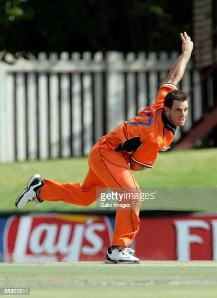 Ryan Ten Doeschate of the Netherlands bowls during the ICC Mens Cricket World Cup qualifier match between Netherlands and UAE from Senwes Park on...