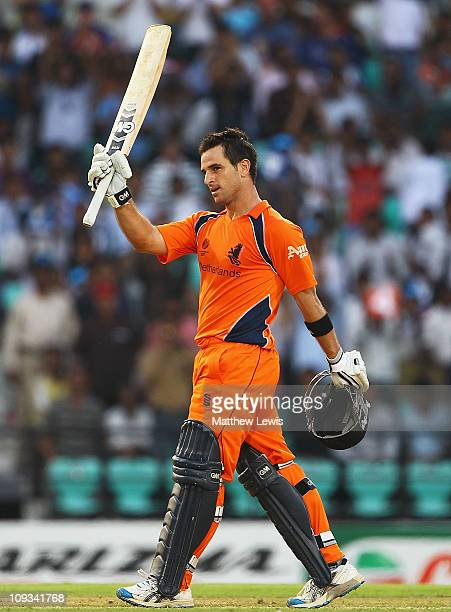 Ryan ten Doeschate of the Netherlands celebrates his century during the ICC World Cup Group B match between England and Netherlands at Vidarbha...