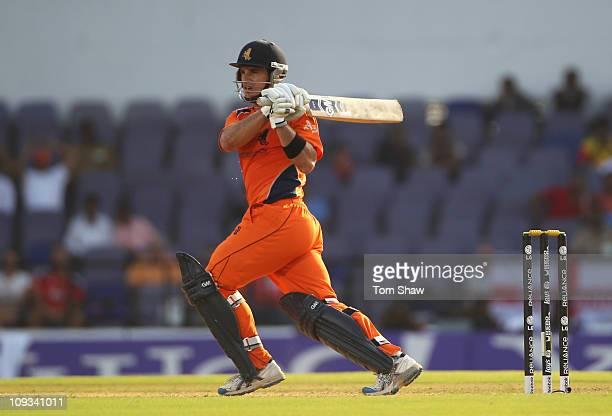 Ryan ten Doeschate of the Netherlands hits out during the 2011 ICC World Cup Group B match between England v Netherlands at Vidarbha Cricket...