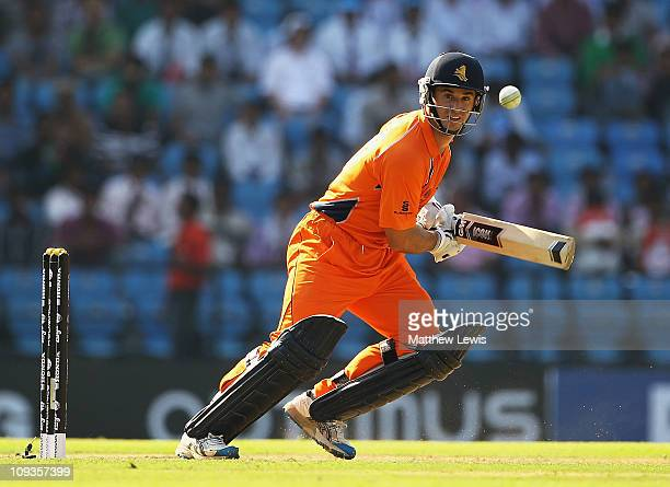 Ryan ten Doeschate of the Netherlands hits the ball towards the boundary during the ICC World Cup Group B match between England and Netherlands at...