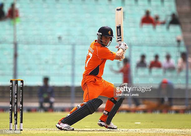 Ryan ten Doeschate of the Netherlands hits the ball towards the boundary during the 2011 ICC World Cup match between Ireland and Netherlands at Eden...