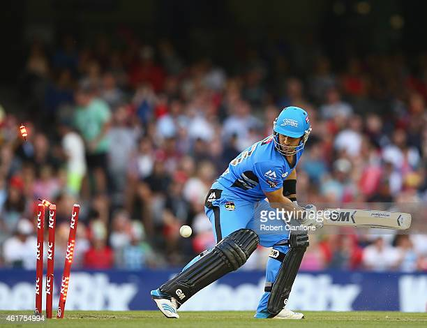 Ryan ten Doeschate of the Strikers is bowled by Nathan Rimmington of the Melbourne Renegades during the Big Bash League match between the Melbourne...