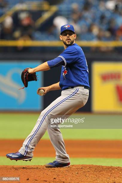Ryan Tepera of the Blue Jays delivers a pitch to the plate during the MLB regular season game between the Toronto Blue Jays and Tampa Bay Rays on May...