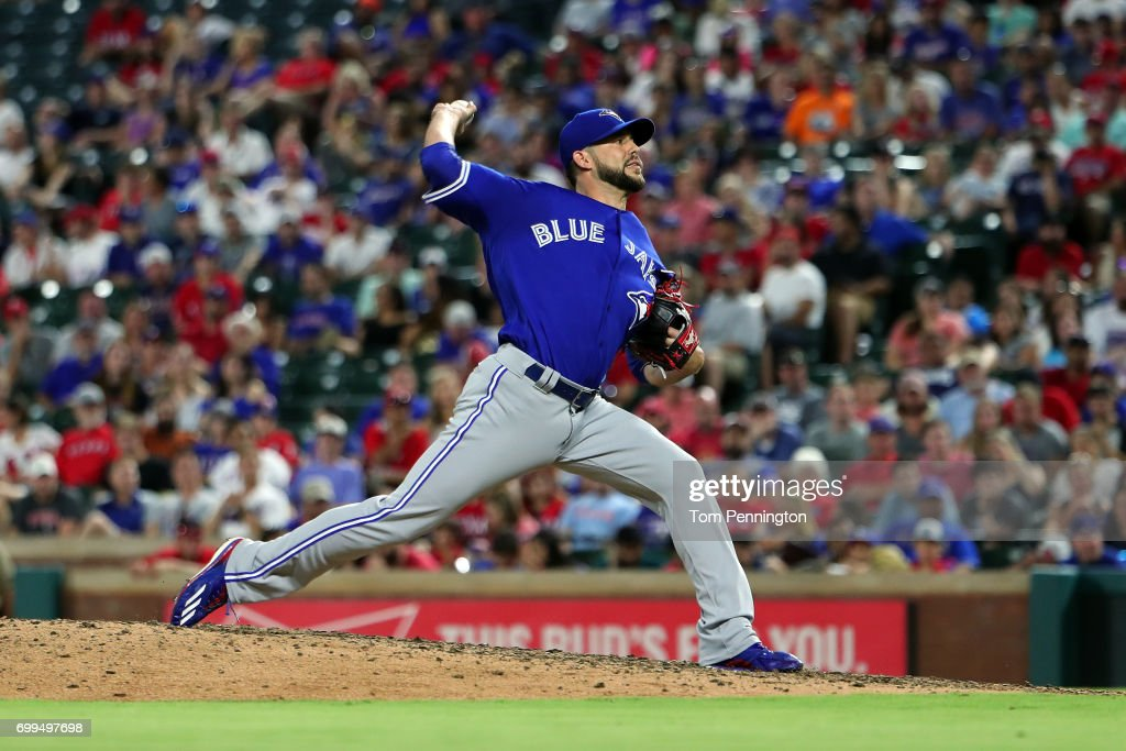 Ryan Tepera #52 of the Toronto Blue Jays pitches against the Texas Rangers in the bottom of the eighth inning at Globe Life Park in Arlington on June 21, 2017 in Arlington, Texas.