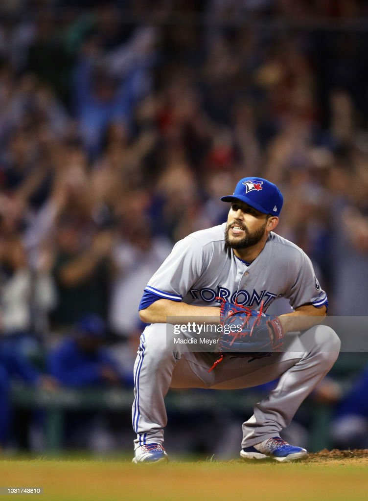 Ryan Tepera #52 of the Toronto Blue Jays reacts after Brock Holt #12 of the Boston Red Sox hit a three run home run during the seventh inning at Fenway Park on September 11, 2018 in Boston, Massachusetts.