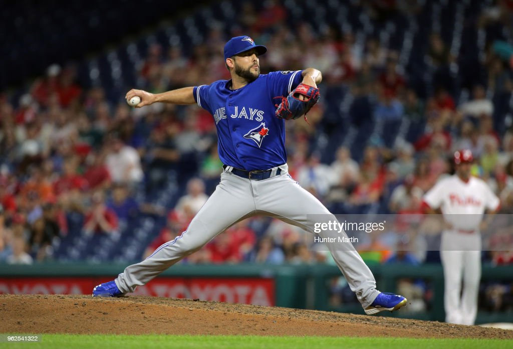 Ryan Tepera #52 of the Toronto Blue Jays throws a pitch in the ninth inning during a game against the Philadelphia Phillies at Citizens Bank Park on May 25, 2018 in Philadelphia, Pennsylvania. The Blue Jays won 6-5.