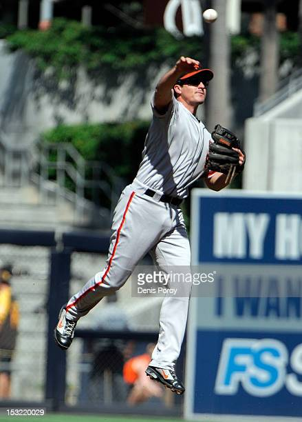 Ryan Theriot of the San Francisco Giants plays during a baseball game against the San Diego Padres at Petco Park on September 30 2012 in San Diego...