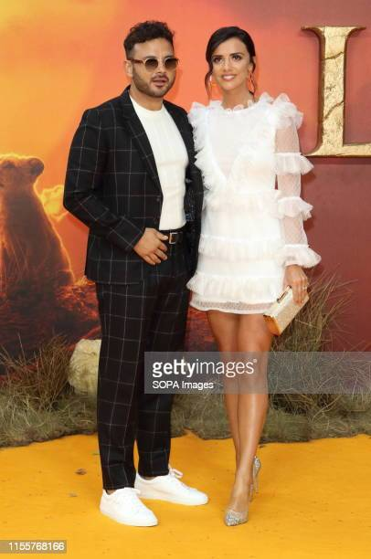 Ryan Thomas and Lucy Mecklenburgh attend the European Premiere of Disney's The Lion King at the Odeon Luxe cinema Leicester Square in London