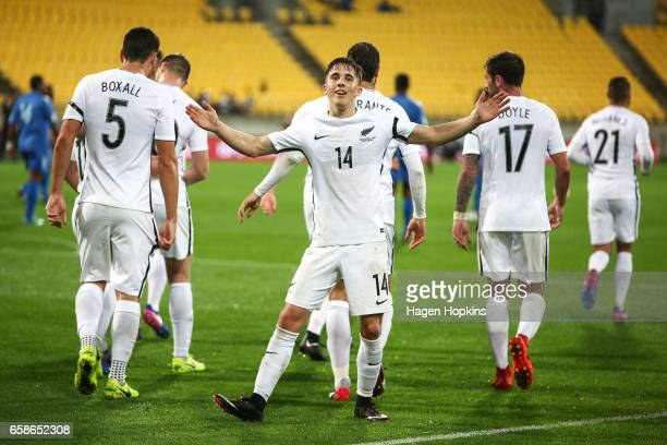 Ryan Thomas of New Zealand celebrates after scoring a goal during the 2018 FIFA World Cup Qualifier match between the New Zealand All Whites and Fiji...