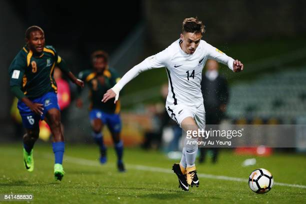 Ryan Thomas of New Zealand on the attack during the 2018 FIFA World Cup Qualifier match between the New Zealand All Whites and Solomon Island at...