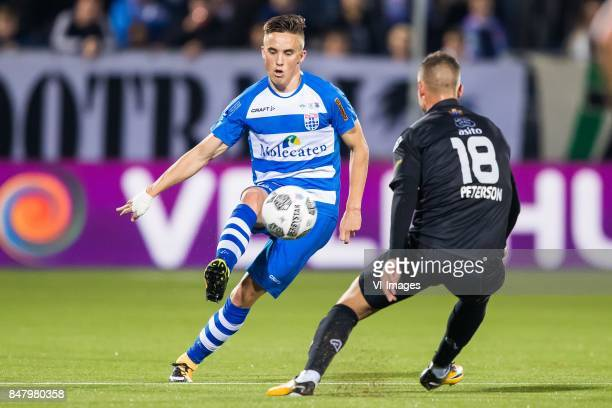Ryan Thomas of PEC Zwolle Kristoffer Peterson of Heracles Almelo during the Dutch Eredivisie match between PEC Zwolle and Heracles Almelo at the...