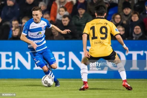 Ryan Thomas of PEC Zwolle Manu Garcia of NAC Breda during the Dutch Eredivisie match between PEC Zwolle and NAC Breda at the MAC3Park stadium on...