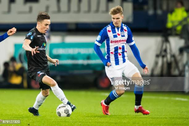 Ryan Thomas of PEC Zwolle Martin Odegaard of sc Heerenveen during the Dutch Eredivisie match between sc Heerenveen and PEC Zwolle at Abe Lenstra...
