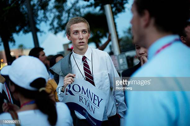 Ryan Thomas of San Jose California waits to enter the Tampa Bay Times Forum on the third day of the Republican National Convention in Tampa Florida...