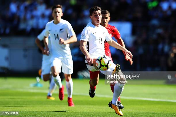 Ryan Thomas of the All Whites kicks the ball through during the 2018 FIFA World Cup Qualifier match between the New Zealand All Whites and Peru at...