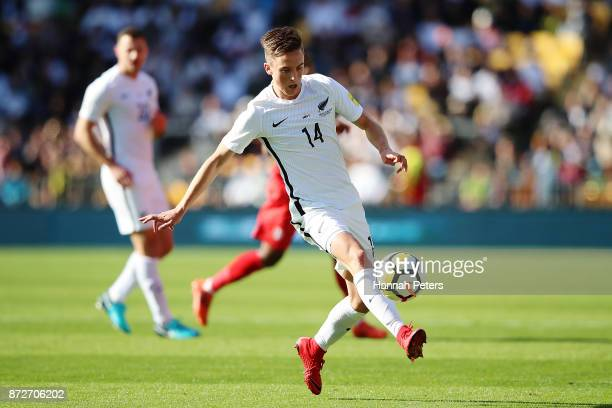 Ryan Thomas of the All Whites makes a break during the 2018 FIFA World Cup Qualifier match between the New Zealand All Whites and Peru at Westpac...