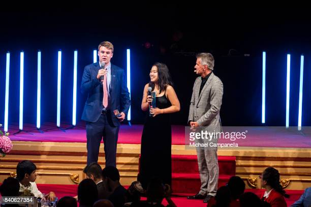 Ryan Thorpe and Rachel Chang of the United States win the Stockholm Junior Water Prize during a ceremony for the Stockholm Junior Water Prize at...