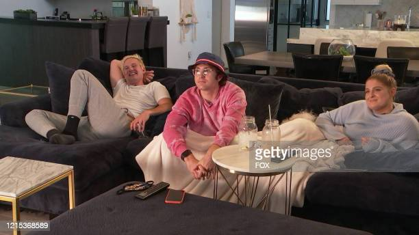 """Ryan Trainor, Daryl Sabara and Meghan Trainor in the The Watch Party Has Begun"""" series premiere episode of CELEBRITY WATCH PARTY airing Thursday, May..."""