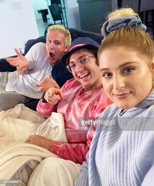 Ryan Trainor, Daryl Sabara and Meghan Trainor on the all-new unscripted series CELEBRITY WATCH PARTY, premiering Thursday, May 7 on FOX.