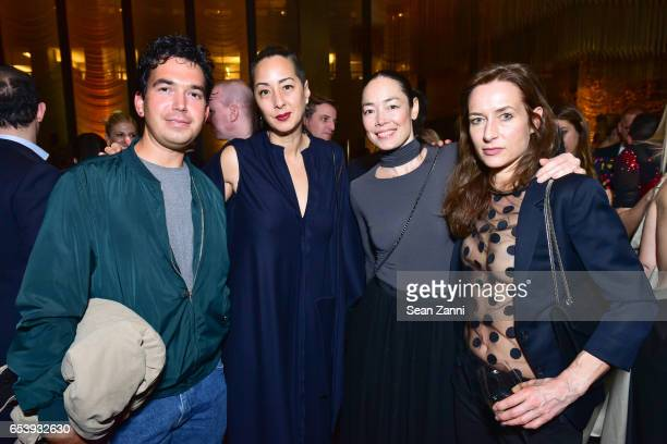 Ryan Trecartin, Angela Goding, Cecilia Dean and Josephine Meckseper at Art Production Fund's Bright Lights, Big City Gala at Seagram Building on...