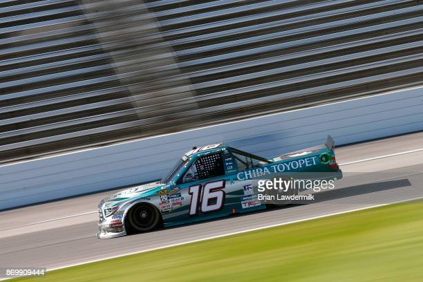Ryan Truex driver of the Chiba Toyopet Toyota practices for the NASCAR Camping World Truck Series JAG Metals 350 Driving Hurricane Harvey Relief at...