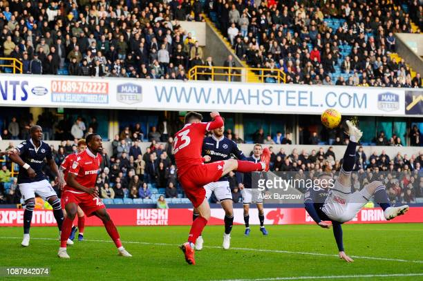 Ryan Tunnicliffe of Millwall scores his team's first goal during the Sky Bet Championship match between Millwall and Nottingham Forest at The Den on...