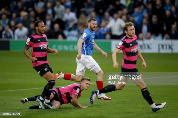 Ryan Tunnicliffe of Portsmouth FC looks on as he scores a goal to make it 1-0 during the Sky Bet Championship match between Nottingham Forest and AFC...