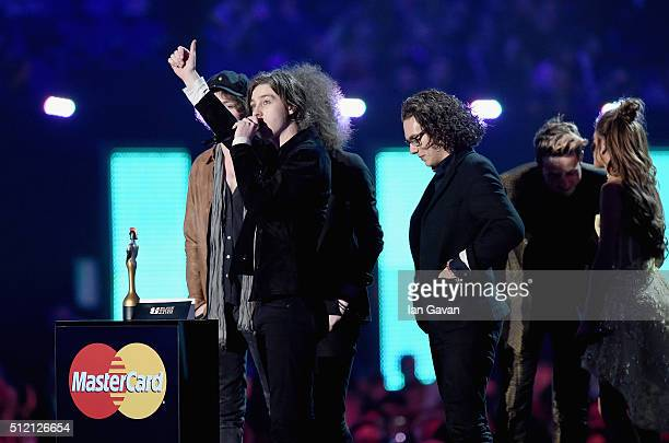 Ryan Van McCann and Catfish and the Bottlemen with their British Breakthrough Act award on stage during the BRIT Awards 2016 at The O2 Arena on...