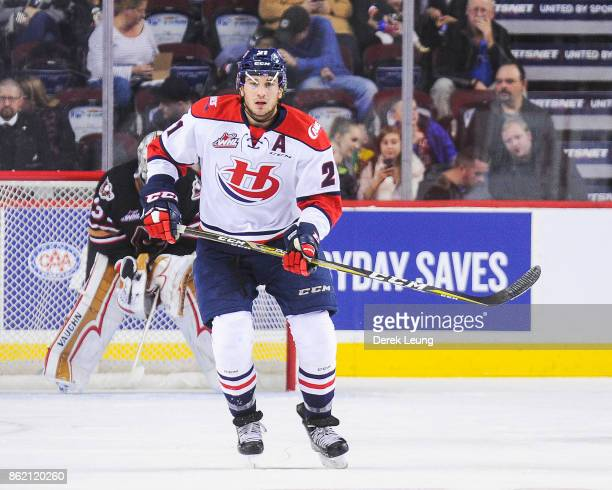 Ryan Vandervlis of the Lethbridge Hurricanes in action against the Calgary Hitmen during a WHL game at the Scotiabank Saddledome on October 15, 2017...