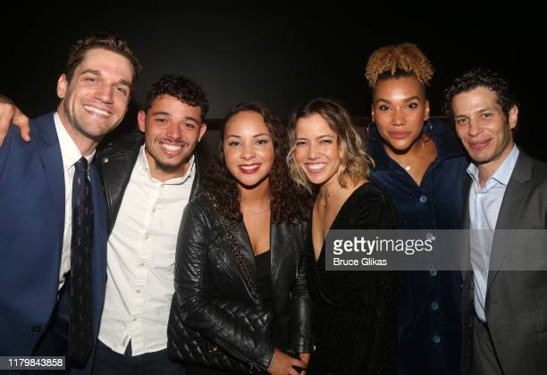 Ryan Vasquez Anthony Ramos Jasmine Cephas Jones Morgan Kei Emmy RaverLampman and Director Thomas Kail pose at the opening night party for MCC Theater...
