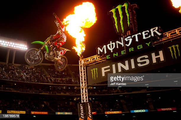 Ryan Villopoto wins the Monster Energy AMA Supercross race at Qualcomm Stadium on February 11 2012 in San Diego California