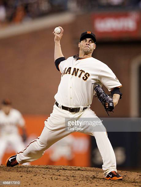 Ryan Vogelsong of the San Francisco Giants picthes in the third inning against the Washington Nationals during Game Four of the National League...