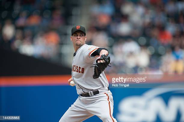 Ryan Vogelsong of the San Francisco Giants pitches during the game against the New York Mets at Citi Field on April 21 2012 in the Flushing...